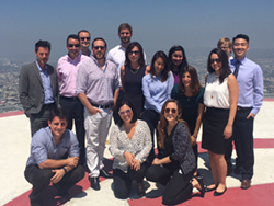 A photo of the 2016 Los Angeles Summer Associates on the Jenner & Block Helo-Pad