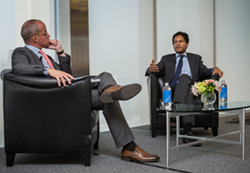 Partner Scott Wilkens discusses first amendment rights with guest speaker Jameel Jaffer.